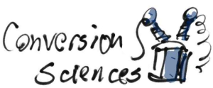 hand-drawn conversion sciences logo longl